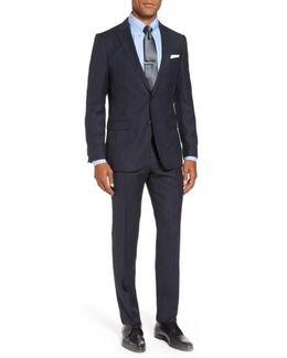 Novan/ben Trim Fit Stripe Wool Suit