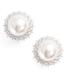 Imitation Pearl Clip Stud Earrings
