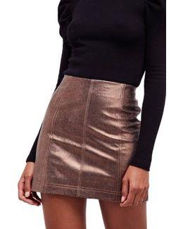 Metallic Faux Leather Miniskirt