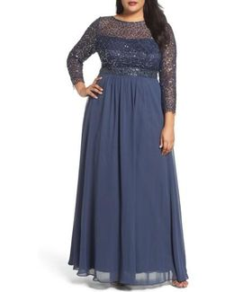 Embellished A-line Chiffon Gown