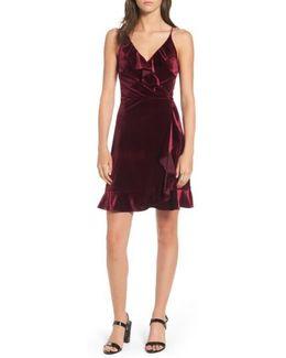 Ruffle Velvet Faux Wrap Dress