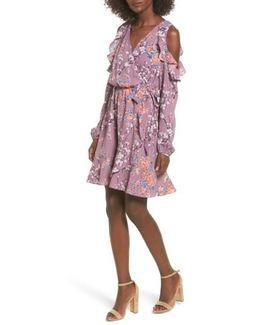 Cold Shoulder Faux Wrap Dress