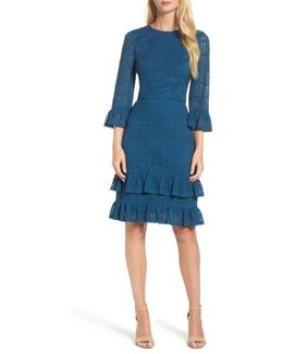 Ruffle Lace Sheath Dress