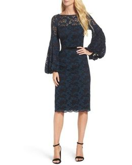 Lace Bishop Sleeve Dress