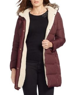 Quilted Parka With Faux Fur Trim
