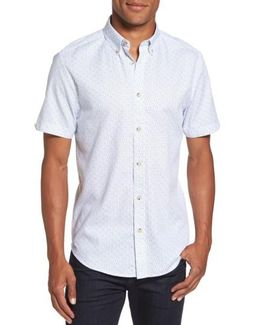 Textured Dash Print Short Sleeve Shirt