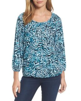 Big Cat Print Peasant Top