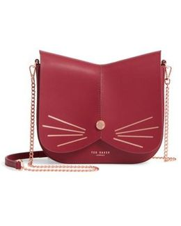 Kittii Cat Leather Crossbody Bag