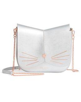 Kittii Cat Leather Crossbody Bag - Metallic