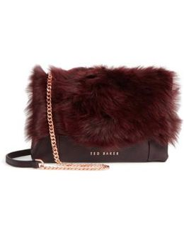 Fuzzi Genuine Shearling & Leather Convertible Crossbody Bag
