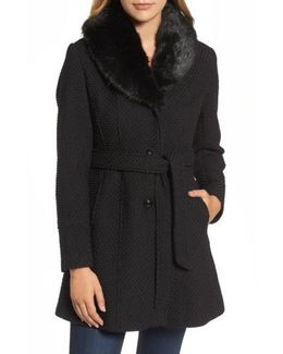 Belted Coat With Faux Fur Collar