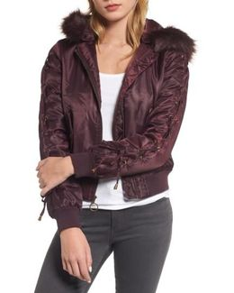 Lace-up Sleeve Quilted Bomber Jacket