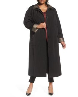 Long Raincoat With Detachable Hood & Liner