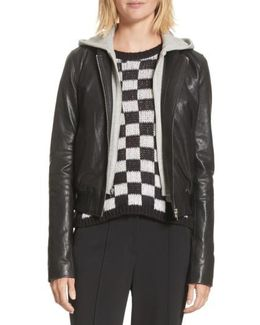 Edison Leather Jacket With Removable Hooded Inset