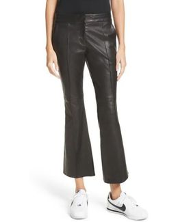 Evan Lambskin Leather Flare Crop Pants