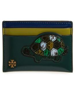 Turtle Applique Leather & Genuine Snakeskin Card Case