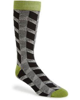 Geometric Organic Cotton Blend Socks