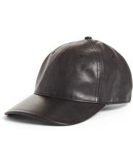 Lennox Leather Baseball Cap - Metallic