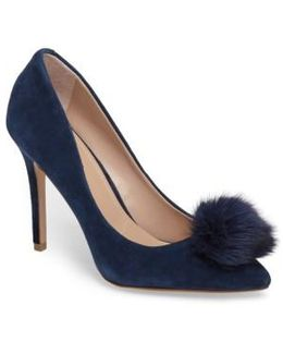 Pixie Pump With Genuine Fox Fur Pom