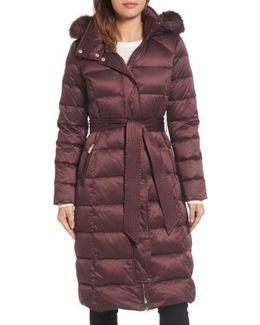 Down Midi Coat With Faux Fur Trim