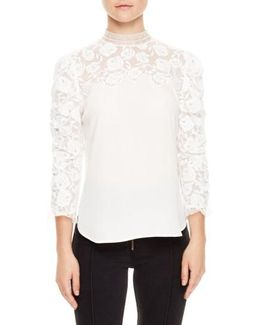 Ruched Sleeve Lace Blouse