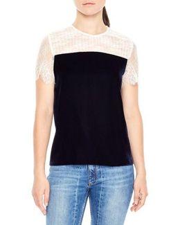 Lace Shoulder Velvet Top