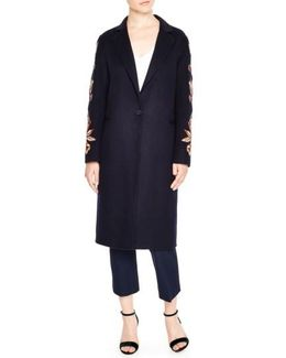 Embroidered Long Wool Blend Coat