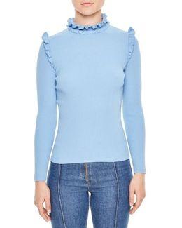 Ruffle Trim Turtleneck Sweater