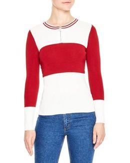 Colorblock Half Zip Sweater