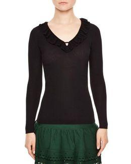 Ruffle Trim V-neck Sweater