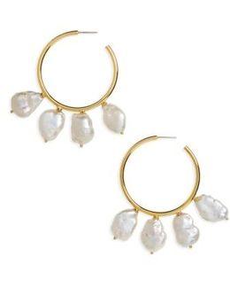 Keshi Pearl Hoop Earrings
