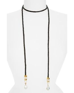 Safari Pearl Lariat Necklace