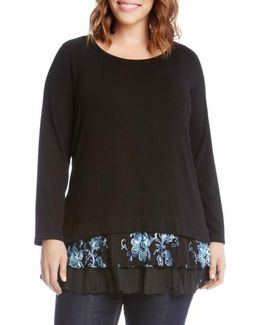 Flower Embroidery Layered Hem Top