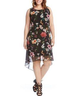 Kane Kane Floral High/low Dress