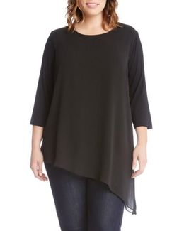 Asymmmetrcial Sheer Overlay Top