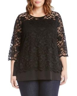 Lace Overlay Jersey Top