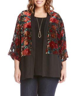 Burnout Velvet Kimono Jacket