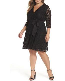 Lace Faux Wrap Dress