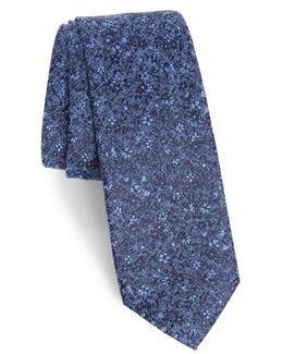 Lindsay Floral Print Silk & Cotton Tie