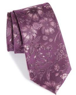 Fletcher Floral Print Silk & Cotton Tie