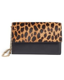 Fayna Genuine Calf Hair & Leather Foldover Clutch