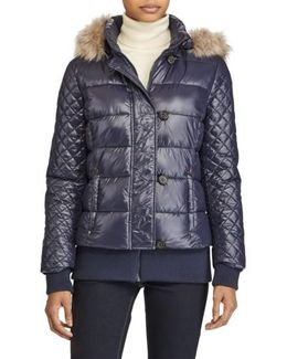 Quilted Jacket With Faux Fur Trim