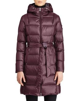 Packable Belted Down Jacket, Burgundy