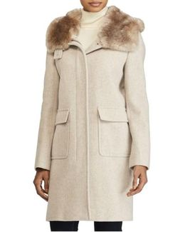 Hooded Coat With Faux Fur