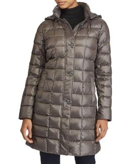 Packable Down Coat, Grey