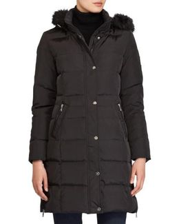 Quilted Parka With Faux Fur
