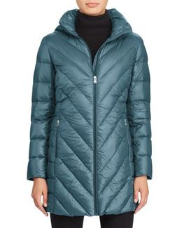 Chevron Quilted Down Jacket