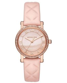 Norie Crystal Accent Leather Strap Watch