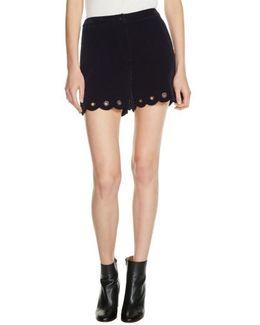 Grommet Detail Velvet Shorts
