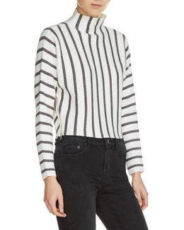 Mesh Stripe Crop Sweater